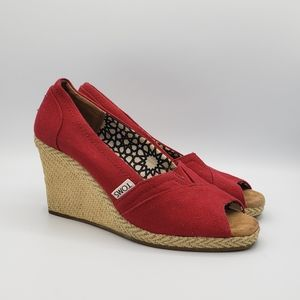 Toms red open toe peep toe wedges shoes